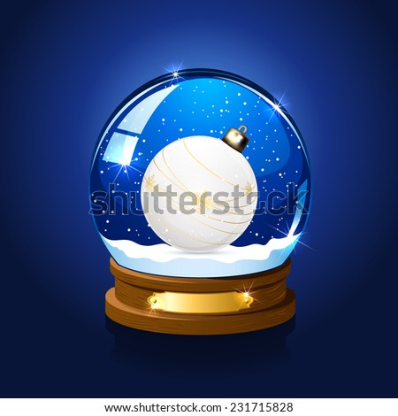 Snow globe with Christmas ball on blue background, illustration. - stock vector