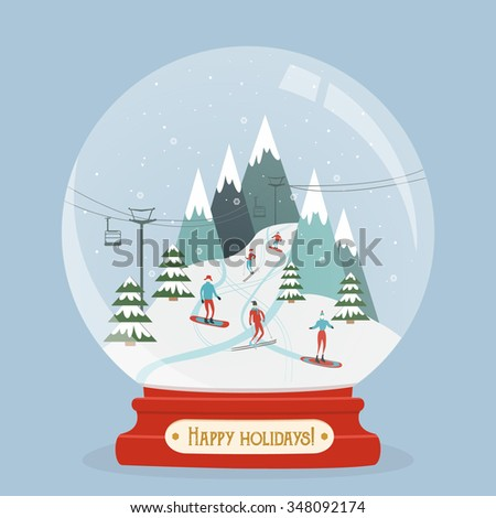 Snow globe with mountain ski area. Fabulous glitter snowball with ski resort landscape and people entertain winter sports. Happy holidays greeting card. Vector - stock vector