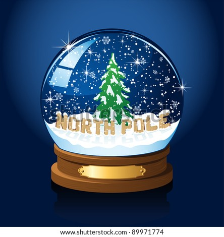 Snow globe with North Pole, Christmas tree and the falling snow, illustration - stock vector