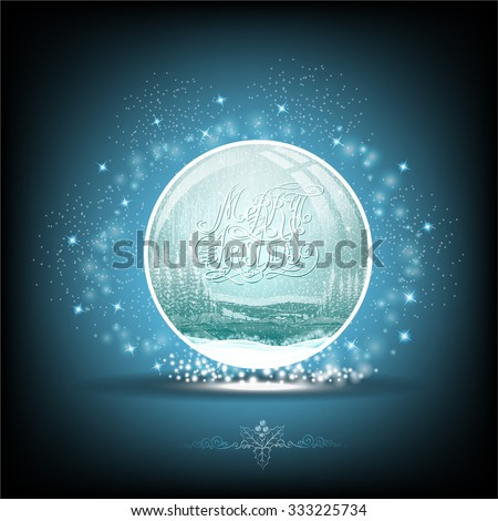 Snow globe with winter forest landscape on blue background - stock vector