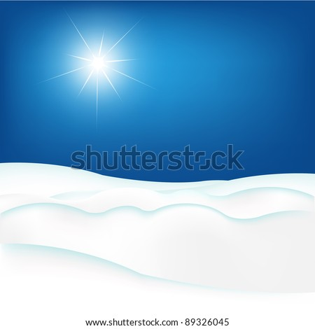 Snow Hill And Blue Sky, Vector Illustration - stock vector
