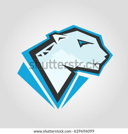 Snow Leopard Head Mockup Template Animal Stock Vector Royalty Free