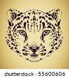 snow leopard head vector - stock vector