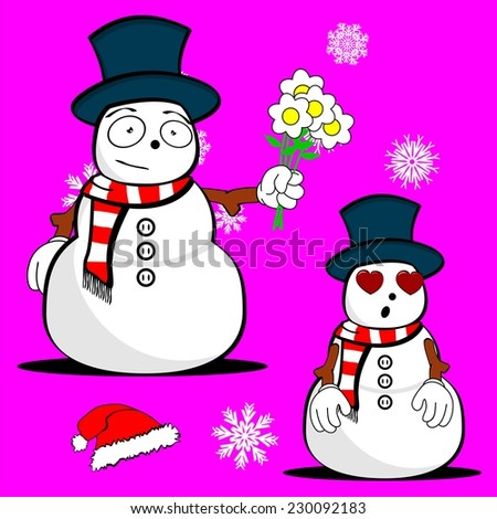 snow man cartoon xmas set in vector format very easy to edit