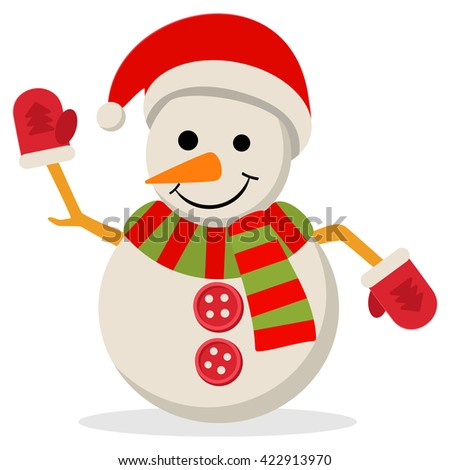 Snow Man in santa claus cap. Vector illustration isolated on white. Merry christmas concept with snowman in scarf gloves and hat. - stock vector