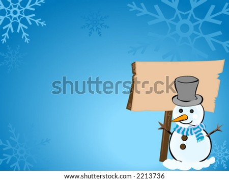 Snow Man - Vector - stock vector