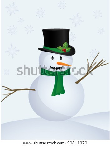 Snow Man, vector - stock vector