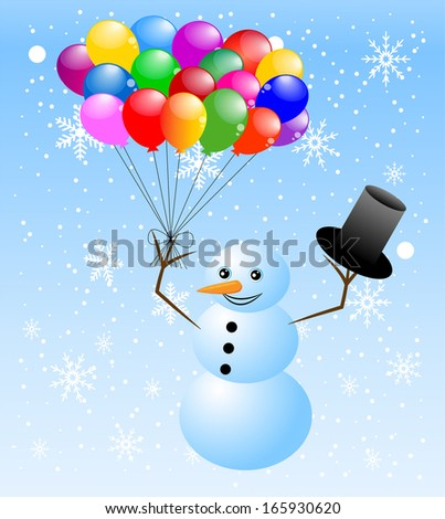 snow man with air marbles,vector illustration - stock vector