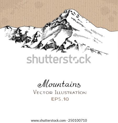 Snow Peak. Hand drawn Vector Illustration - stock vector
