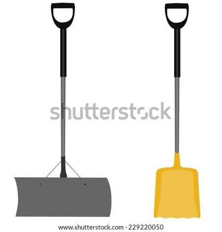 Snow shovel, yellow shovel, hand tool, digging, snow shovel isolated, grey snow shovel - stock vector