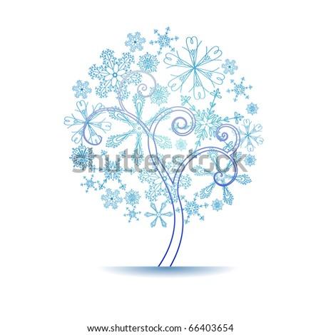 snow tree - stock vector