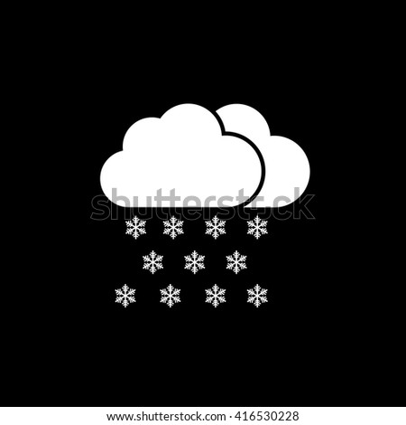 Snow weather forecast icon on black background vector illustration - stock vector
