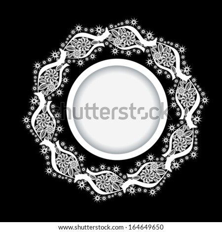 snow white round frame on black background. Vector - stock vector