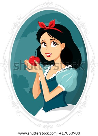 Snow White - Vector drawing of beautiful princess with red apple - stock vector