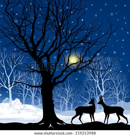 Snow winter forest landscape with two deers. Abstract vector illustration of winter forest.  - stock vector