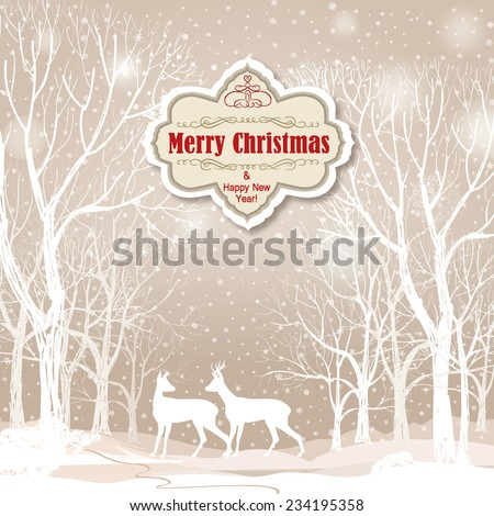 Snow winter landscape with two deers. Merry Christmas background with snowy winter forest. Christmas wallpaper with copy space.  - stock vector