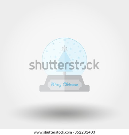 Snowball. Merry Christmas. Icon for web and mobile application. Vector illustration on a white background. Flat design style.