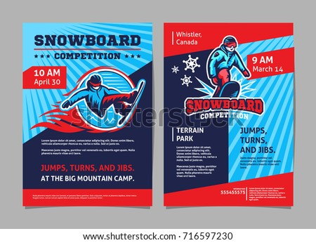 Snowboard Competition Posters Flyer Template Vector Stock Vector Hd