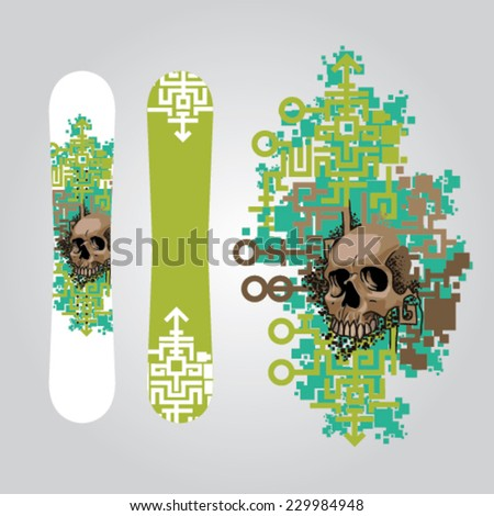 snowboard graphics design with pixel art background and brown skull - stock vector