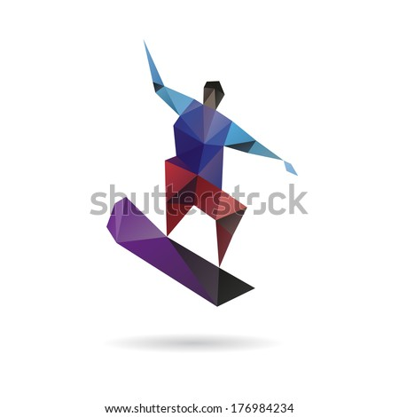 Snowboarder jumping abstract isolated on a white backgrounds - stock vector