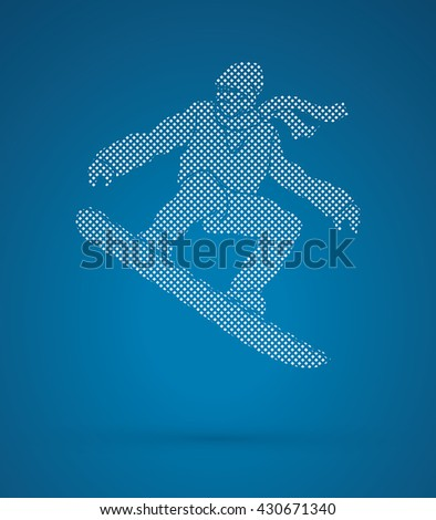 Snowboarder jumping designed using dots pixels graphic vector.
