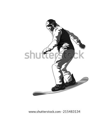 Snowboarder sliding down, man snowboarding, Vector Illustration - stock vector