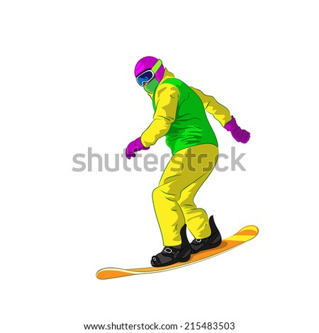 Snowboarder sliding down, man snowboarding, Vector Illustration