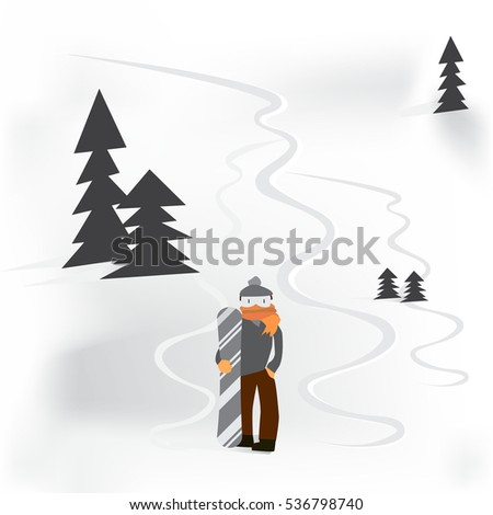 snowboarder standing with snowboard