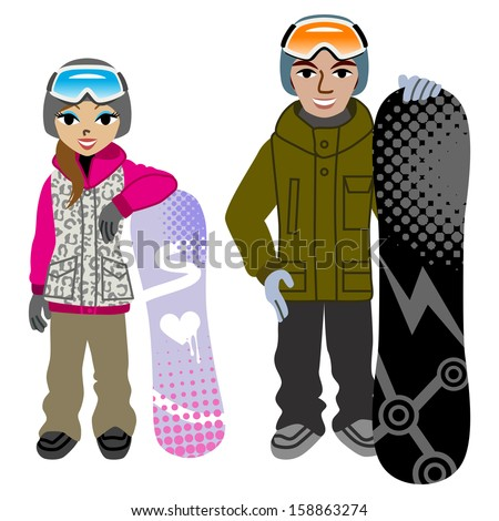 Snowboarding couple,Isolated - stock vector