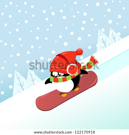 Snowboarding penguin - stock vector