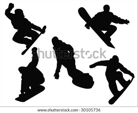 snowboarding silhouette - stock vector