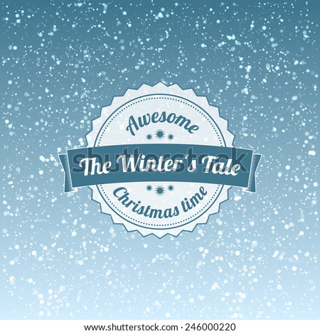 Snowfall illustration with vintage badge - stock vector