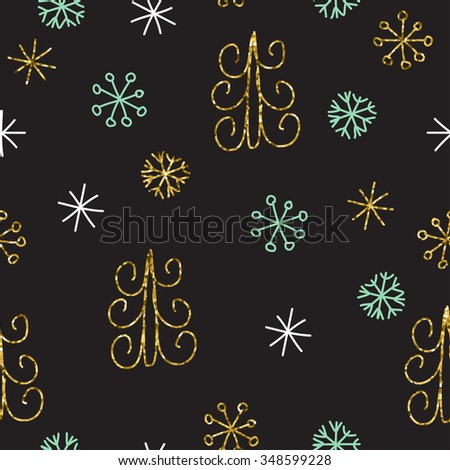 Snowflake and fir christmas tree. Christmas decoration pattern, seamless background, hand drawn elements. Vector illustration in black, gold, mint and white colors - stock vector