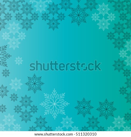 Snowflake background. Christmas decoration frame. Abstract illustration for your design