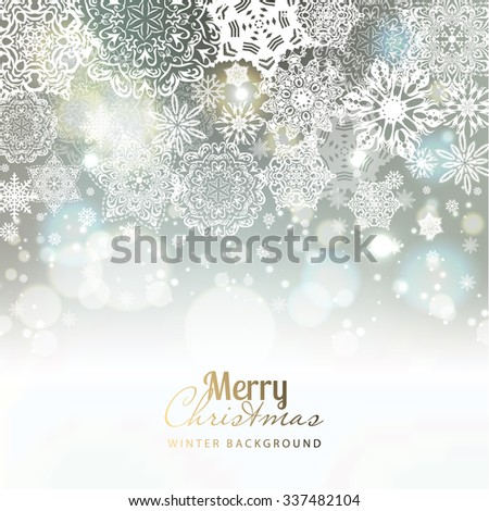 Snowflake background. Vector holiday backdrop. - stock vector
