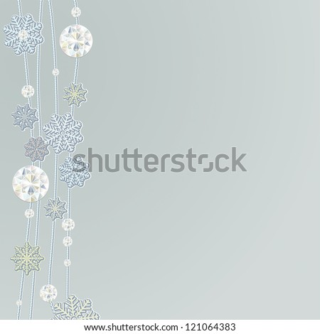 Snowflake background with diamond