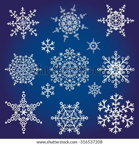 Snowflake big set,Silhouette icon,Winter elements.Christmas,new year holiday decor.Vector doodles. - stock vector