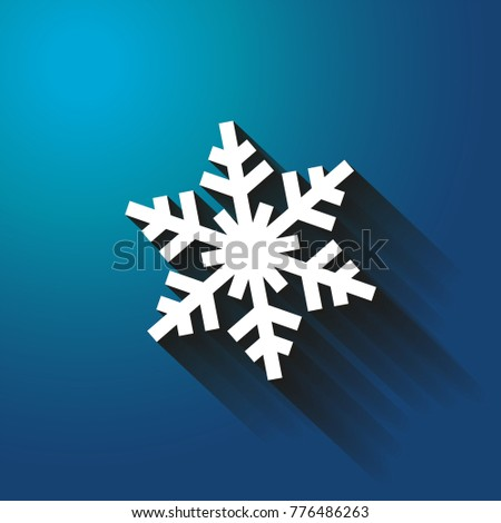 Snowflake. blue background, Christmas card, vector illustration
