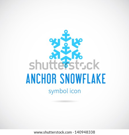 Snowflake from anchors logo template/Good for cold rivers and lakes shipment - stock vector