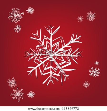 snowflake - hand drawn  vector illustration  isolated