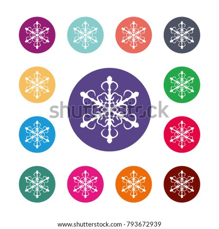 Snowflake Icon Air Conditioning Symbol Colored Stock Vector