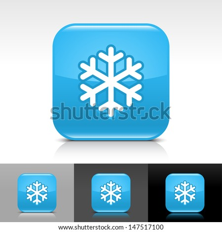 Snowflake icon. Blue color glossy web button with white sign. Rounded square shape with shadow, reflection on white, gray, black background. Vector illustration design element 8 eps  - stock vector