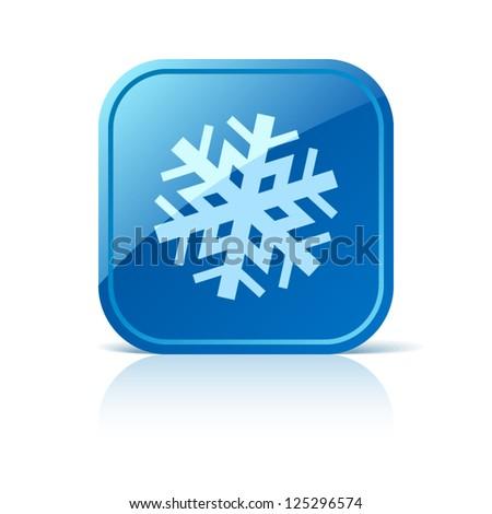 Snowflake icon on blue square button - stock vector