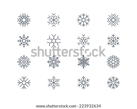 Snowflake icons 5 - stock vector