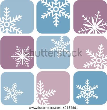 snowflake icons on blue and purple background - stock vector