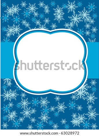 snowflake icons on blue  background. greeting card template - stock vector