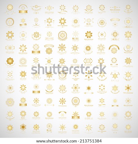 Snowflake Icons Set - Isolated On Gray Background - Vector Illustration, Graphic Design Editable For Your Design - stock vector