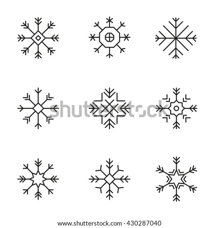 Snowflake icons set -variable line- - stock vector