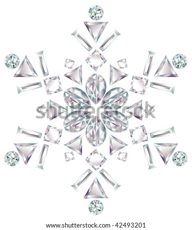 Snowflake made from different cut diamonds isolated on white - stock vector