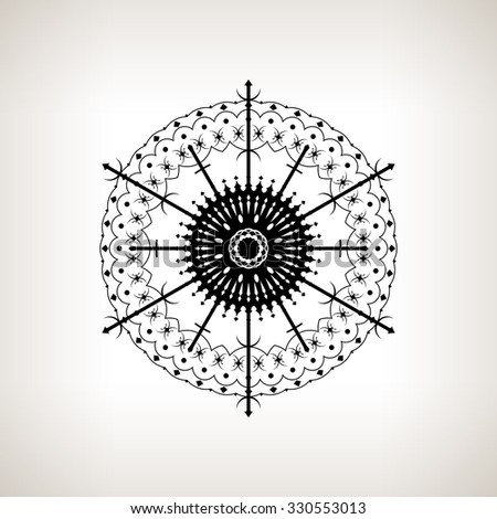 Snowflake on a Light Background, Christmas Decoration, Openwork Pattern in the Form of Snowflakes, Drawing in the Contours, Black and White Vector Illustration